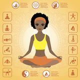 Cute african american girl sitting in the lotus position Royalty Free Stock Image