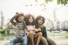 Cute african american little boy and girl royalty free stock photos