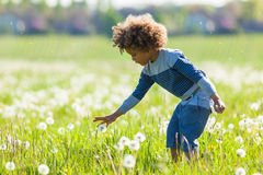 Cute african american little boy playing outdoor Stock Photography