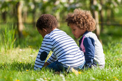 Cute african american little boys  playing outdoor - Black peopl Royalty Free Stock Image