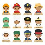 Half Body African American Male Workers Vector Collection. Cute African American male workers in different uniform vector collection. Half body professions vector illustration