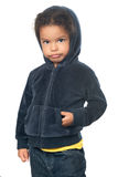 Cute african american small girl wearing a hood Royalty Free Stock Photo