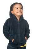 Cute african american small girl wearing a hood Stock Photo