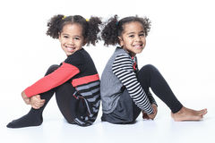 Cute african american twin on white background Royalty Free Stock Images