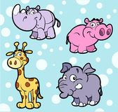 Cute African Animals. An illustrated set of cute African baby animals, on a blue background with white polka dots Stock Photo