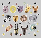 Cute African animals royalty free illustration