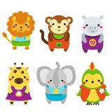 Cute African animals. Cartoon kawaii wildlife animals set. Lion, monkey, elephant, giraffe and other. Vector illustration Royalty Free Stock Photography