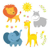 Cute african animals. Funny african animals. Editable vector set Stock Images