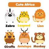 Cute african animals wildlife set. Children style, isolated design elements, vector illustration Royalty Free Stock Photo