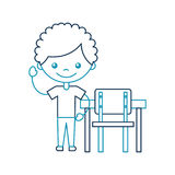 Cute african boy with school chair character icon. Vector illustration design Royalty Free Stock Images