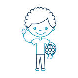 Cute african boy with soccer balloon character icon Stock Photo