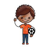 Cute african boy with soccer balloon character icon Royalty Free Stock Photography