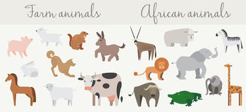 Cute african and farm animals set. Royalty Free Stock Image