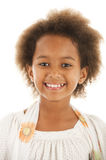 Cute African girl. A gorgeous little 7yr old African girl in the studio.  White background Stock Image
