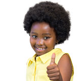 Cute african girl with afro hair doing thumbs up. stock image