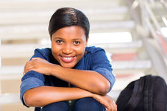 Cute african girl. Cute african american girl on college campus Royalty Free Stock Image