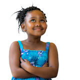 Cute african girl with braids looking up. Royalty Free Stock Images