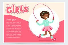 Cute african girl jumping with skipping rope, girls banner flat vector element for website or mobile app Royalty Free Stock Photo