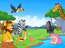 Cute African safari animal cartoon characters scene Royalty Free Stock Photos