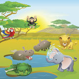 Cute African safari animal cartoon scene. Cute African safari animal cartoon characters scene. Series of three illustrations that can be used separately or side Royalty Free Stock Photography