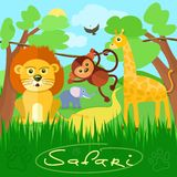 Cute african safari animals. Safari concept. Cute african safari animals cartoon characters scene on background with trees Royalty Free Stock Photos
