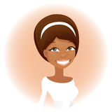 Cute african woman. Vector african woman in white Stock Photos