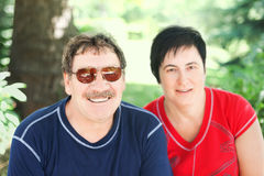 Cute aged couple at nature Stock Photo