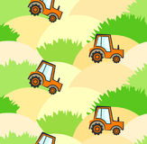 Cute agricultural kids pattern with tractors on field with sand and grass. Nice childrens colorful texture for textile, wrapping paper, wallpaper, background Stock Photos