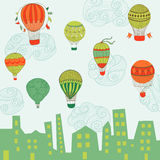 Cute Air Balloons Background Stock Photography