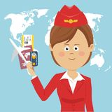 Cute air hostess in red uniform holding passport, ticket, credit card and airplane model over global map. Cute air hostess in red uniform holding a passport Stock Images