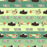 Cute airplane pattern. Doodle style. Old Biplanes seamless background with cartoon plane, mountains. Retro aircraft Royalty Free Stock Image