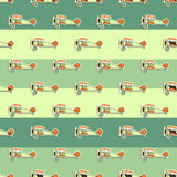 Cute airplane pattern. Doodle style. Old Biplanes seamless background with cartoon planes. Retro aircraft wallpaper and Royalty Free Stock Photos