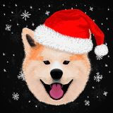 Cute akita merry christmas. And happy new year stock illustration