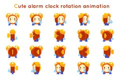 Cute alarm clock child ticker kid character icons rotation animation symbols frames set isolated flat design vector Royalty Free Stock Photos