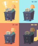 Cute alarm clock at different times of day Stock Photos