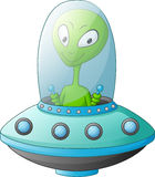 Cute alien cartoon in the spaceship. Illustration of Cute alien cartoon in the spaceship Stock Image