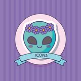 Cute alien design. Decorative ribbon with cute alien icon over purple background, colorful design. vector illustration Royalty Free Stock Photos