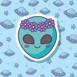 Cute alien design. Cute alien icon over blue background, colorful design. vector illustration Royalty Free Stock Photography
