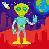 Cute alien on mars. Cute friendly in space suit alien astronaut  from mars or another galaxy planet. colonization discover mission first contact UFO. On Stock Photo