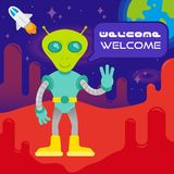 Cute alien on mars. Cute friendly in space suit alien astronaut  from mars or another galaxy planet say welcome. colonization mission first contact UFO. On Royalty Free Stock Photography