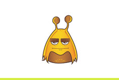 Cute Alien Monster Straight faced. Vector illustration. Isolated on white background Royalty Free Stock Photos