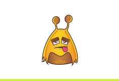 Cute Alien Monster tired with tongue sticking out. Royalty Free Stock Photography