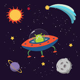 Cute alien in space. Hand drawn colorful vector illustration of a cute funny alien in a flying saucer in outer space, on a dark background with stars and planets Stock Photography