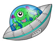 Cute alien in spaceship Stock Image