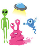 Cute aliens. Cute set of friendly aliens. Vector is also available Stock Images