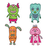 4 Cute Aliens. A group of four Colorful Cute Aliens Stock Photos