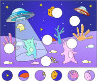 Cute aliens landing on the planet's surface: complete the puzzle Stock Photos
