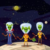 Cute Aliens In Space Suits, Spaceship Crew Cartoon Characters In space, vector, isolated. Cute Aliens In Space Suits, Spaceship Crew Cartoon Characters In space Royalty Free Stock Image