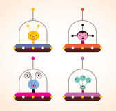 Cute aliens in spaceships kids design elements set Royalty Free Stock Image