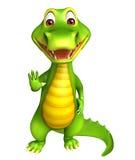 Cute Aligator cartoon character with assining stop Stock Photos